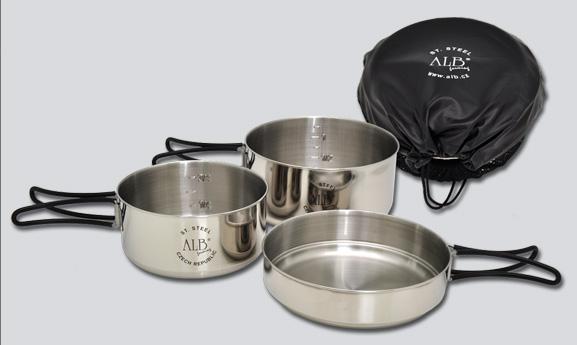 Třídílná sada nerezového nádobí MAKALU (Kempinkové nádobí)